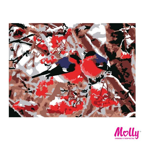 Картины по номерам Molly арт.KH0755 Снегири (10 Цветов ...